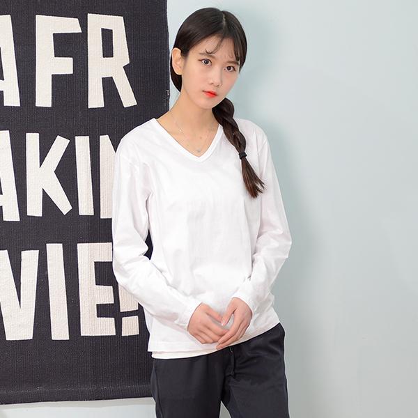 DGI1821-1 여자기본브이긴팔면티셔츠-빅사이즈99까지