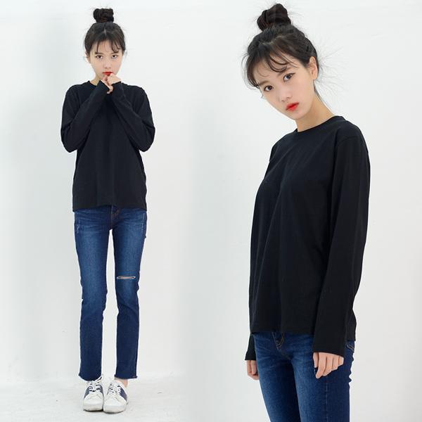 DGI1820-1 여자기본라운드긴팔면티셔츠-빅사이즈99까지