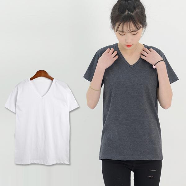 여자기본브이반팔면티셔츠 -빅사이즈99까지